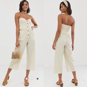ASOS Cream Linen Blend Strapless Jumpsuit